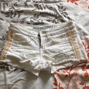 White denim mini shorts